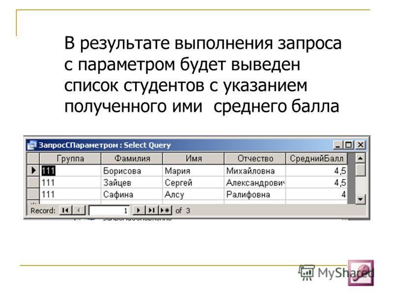 В результате выполнения запроса с параметром будет выведен список студентов с указанием полученного ими среднего балла
