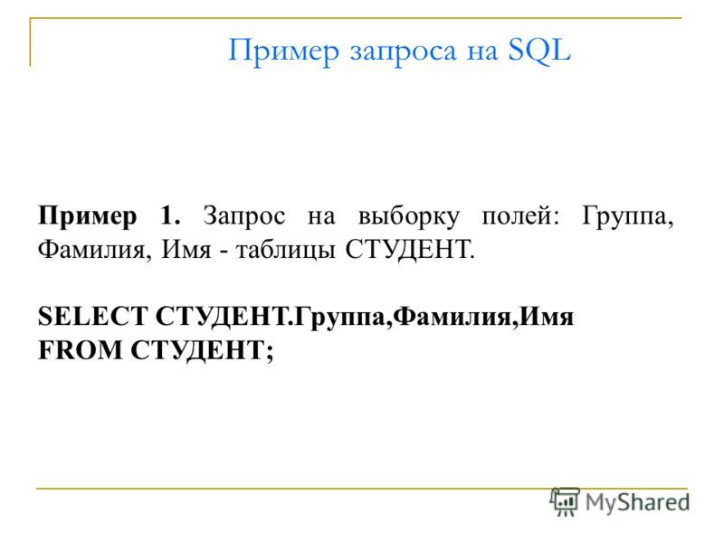 Пример запроса на SQL Пример 1. Запрос на выборку полей: Группа, Фамилия, Имя - таблицы СТУДЕНТ. SELECT СТУДЕНТ.Группа,Фамилия,Имя FROM СТУДЕНТ;