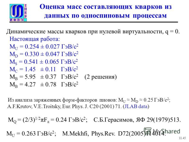 Оценка масс составляющих кварков из данных по односпиновым процессам Динамические массы кварков при нулевой виртуальности, q = 0. Настоящая работа: M U = 0.254 ± 0.027 ГэВ/с 2 M D = 0.330 ± 0.047 ГэВ/с 2 M S = 0.541 ± 0.065 ГэВ/с 2 M C = 1.45 ± 0.11