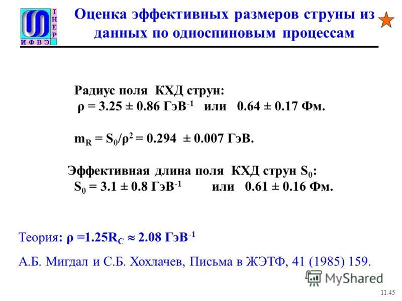 Оценка эффективных размеров струны из данных по односпиновым процессам Радиус поля КХД струн: ρ = 3.25 ± 0.86 ГэВ -1 или 0.64 ± 0.17 Фм. m R = S 0 /ρ 2 = 0.294 ± 0.007 ГэВ. Эффективная длина поля КХД струн S 0 : S 0 = 3.1 ± 0.8 ГэВ -1 или 0.61 ± 0.16