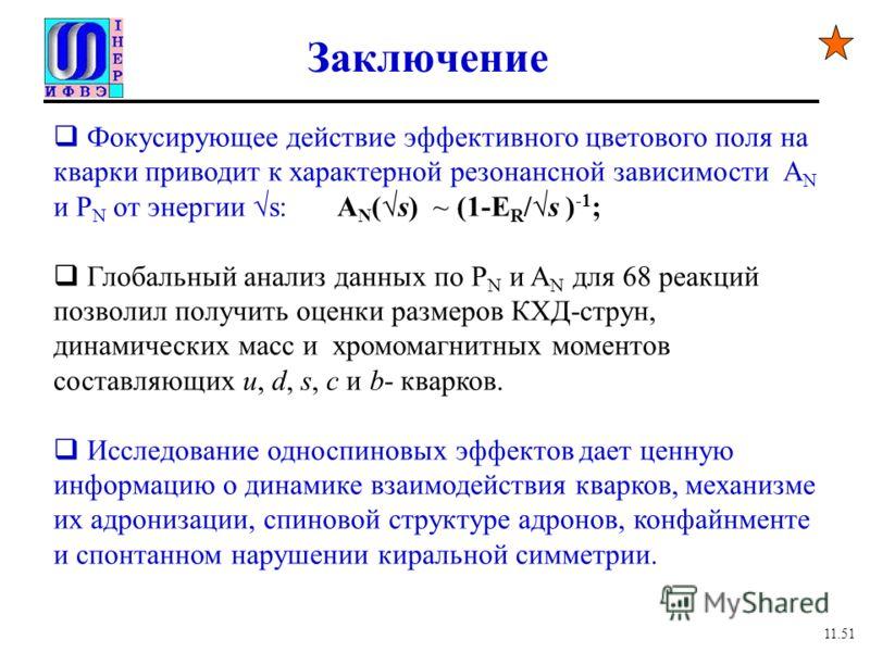 Заключение Фокусирующее действие эффективного цветового поля на кварки приводит к характерной резонансной зависимости A N и P N от энергии s: A N (s) ~ (1-E R /s ) -1 ; Глобальный анализ данных по P N и A N для 68 реакций позволил получить оценки раз