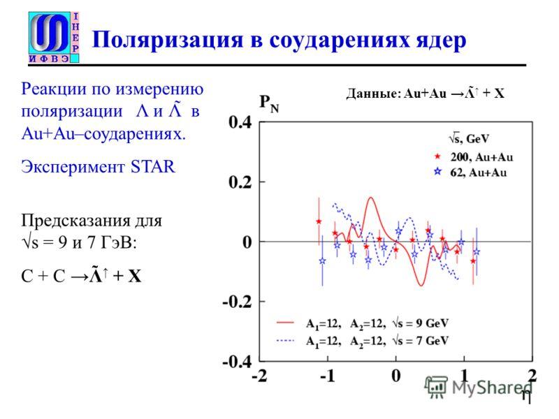 Поляризация в соударениях ядер Реакции по измерению поляризации Λ и Λ̃ в Au+Au–соударениях. Эксперимент STAR Данные: Au+Au Λ̃ + X Предсказания дляs = 9 и 7 ГэВ: С + С Λ + X