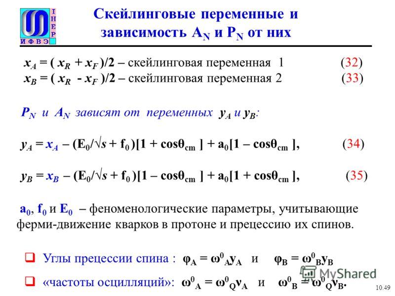 Скейлинговые переменные и зависимость A N и P N от них P N и A N зависят от переменных y A и y B : y A = x A – (E 0 /s + f 0 )[1 + cosθ cm ] + a 0 [1 – cosθ cm ], (34) y B = x B – (E 0 /s + f 0 )[1 – cosθ cm ] + a 0 [1 + cosθ cm ], (35) x A = ( x R +