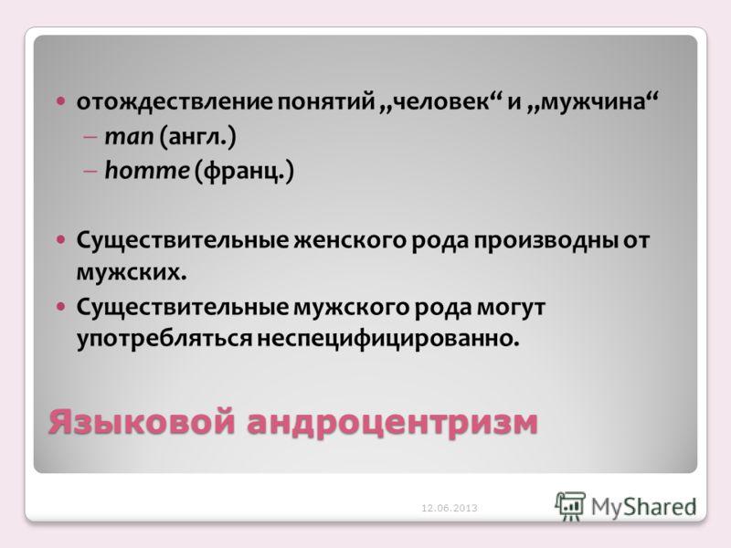 Языковой андроцентризм отождествление понятий человек и мужчина man (англ.) homme (франц.) Cуществительные женского рода производны от мужских. Cуществительные мужского рода могут употребляться неспецифицированно. 12.06.20133