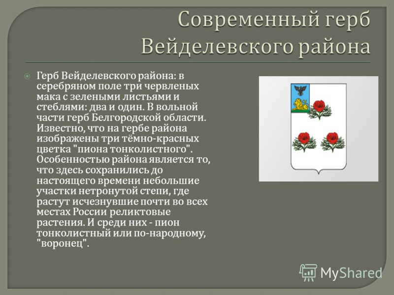 Герб Вейделевского района : в серебряном поле три червленых мака с зелеными листьями и стеблями : два и один. В вольной части герб Белгородской области. Известно, что на гербе района изображены три тёмно - красных цветка