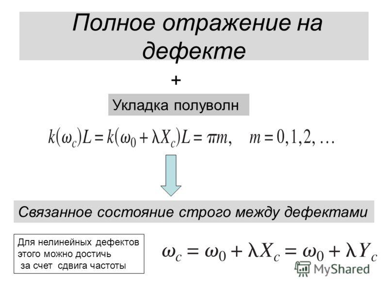 Полное отражение на дефекте + Укладка полуволн Связанное состояние строго между дефектами Для нелинейных дефектов этого можно достичь за счет сдвига частоты