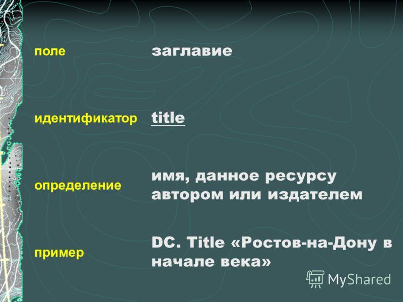 поле идентификатор определение пример заглавие title имя, данное ресурсу автором или издателем DC. Title «Ростов-на-Дону в начале века»