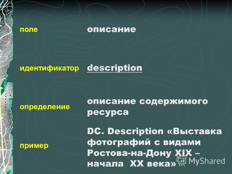 поле идентификатор определение пример описание description описание содержимого ресурса DC. Description «Выставка фотографий с видами Ростова-на-Дону XIX – начала XX века»
