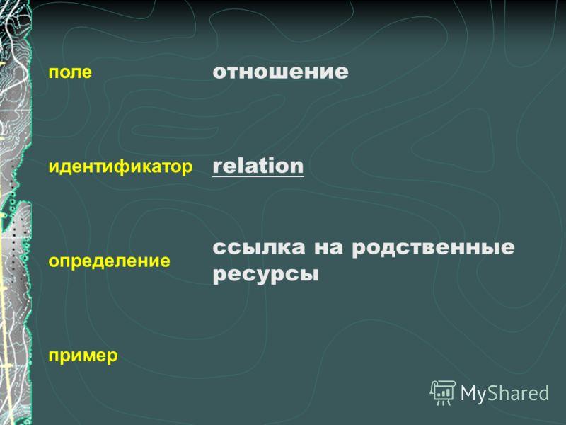 поле идентификатор определение пример отношение relation ссылка на родственные ресурсы