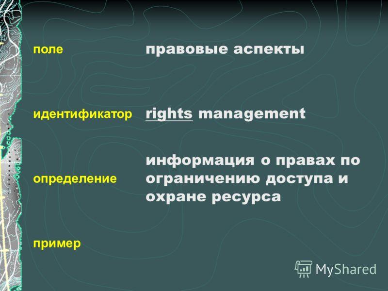поле идентификатор определение пример правовые аспекты rights management информация о правах по ограничению доступа и охране ресурса