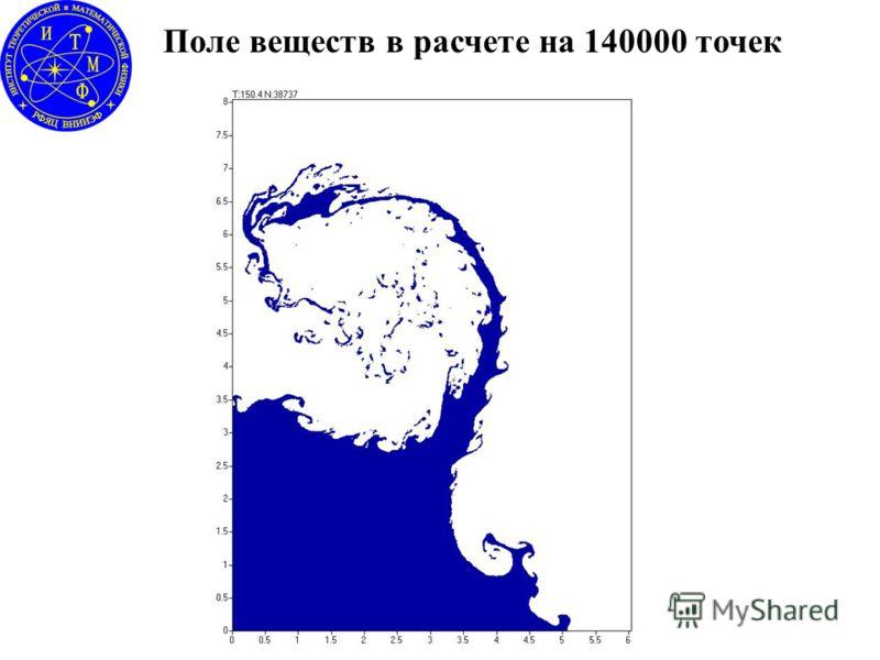 Поле веществ в расчете на 140000 точек