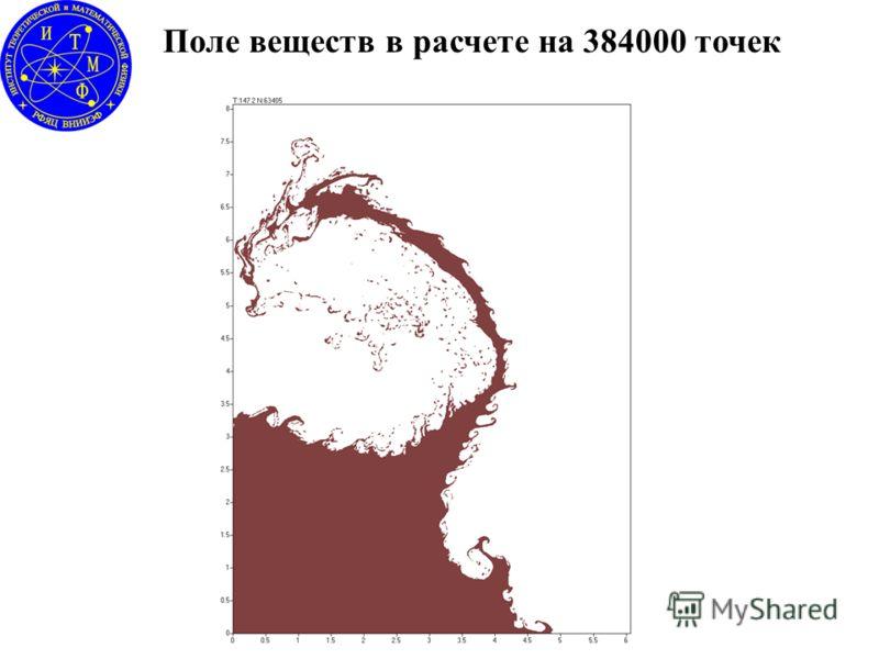 Поле веществ в расчете на 384000 точек