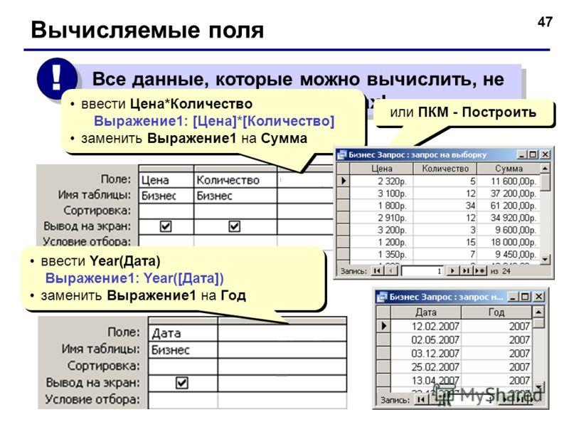 47 Все данные, которые можно вычислить, не должны храниться в таблицах! ! ! Вычисляемые поля ввести Цена*Количество Выражение1: [Цена]*[Количество] заменить Выражение1 на Сумма ввести Цена*Количество Выражение1: [Цена]*[Количество] заменить Выражение