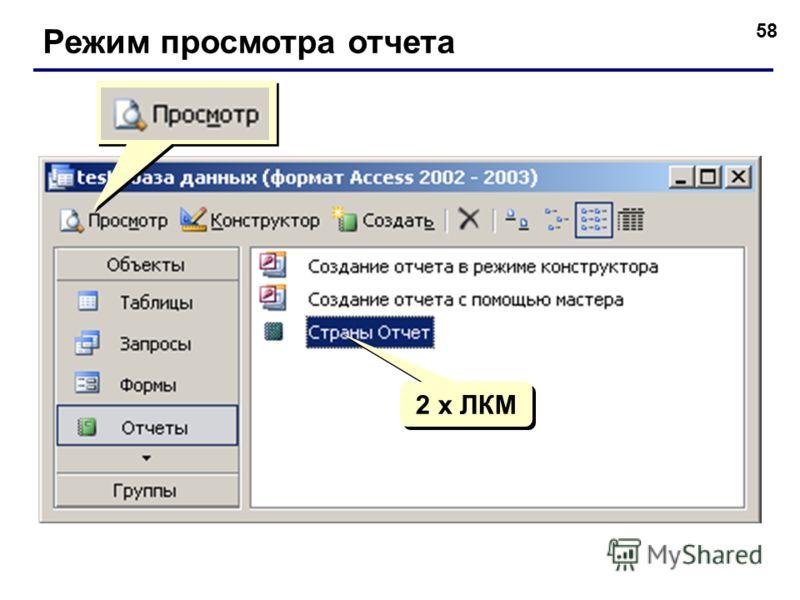 58 Режим просмотра отчета 2 x ЛКМ