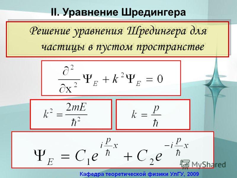 Решение уравнения Шредингера для частицы в пустом пространстве