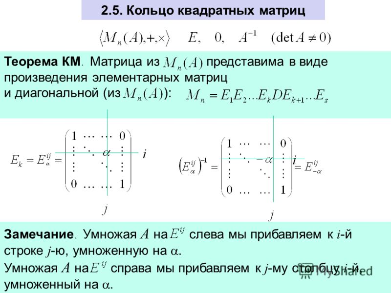 2.5. Кольцо квадратных матриц Теорема КМ. Матрица из представима в виде произведения элементарных матриц и диагональной (из ): Замечание. Умножая А на слева мы прибавляем к i -й строке j -ю, умноженную на. Умножая А на справа мы прибавляем к j -му ст