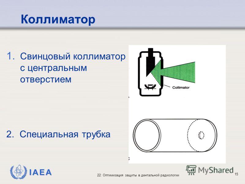 IAEA 22: Оптимизация защиты в дентальной радиологии 15 Коллиматор 1. Свинцовый коллиматор с центральным отверстием 2. Специальная трубка