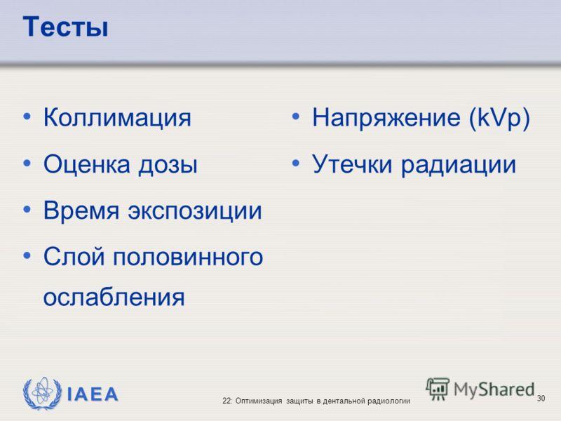 IAEA 22: Оптимизация защиты в дентальной радиологии 30 Тесты Коллимация Оценка дозы Время экспозиции Слой половинного ослабления Напряжение (kVp) Утечки радиации