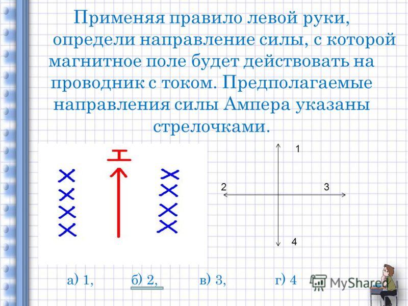 Применяя правило левой руки, определи направление силы, с которой магнитное поле будет действовать на проводник с током. Предполагаемые направления силы Ампера указаны стрелочками. 1 23 4 а) 1, б) 2, в) 3, г) 4