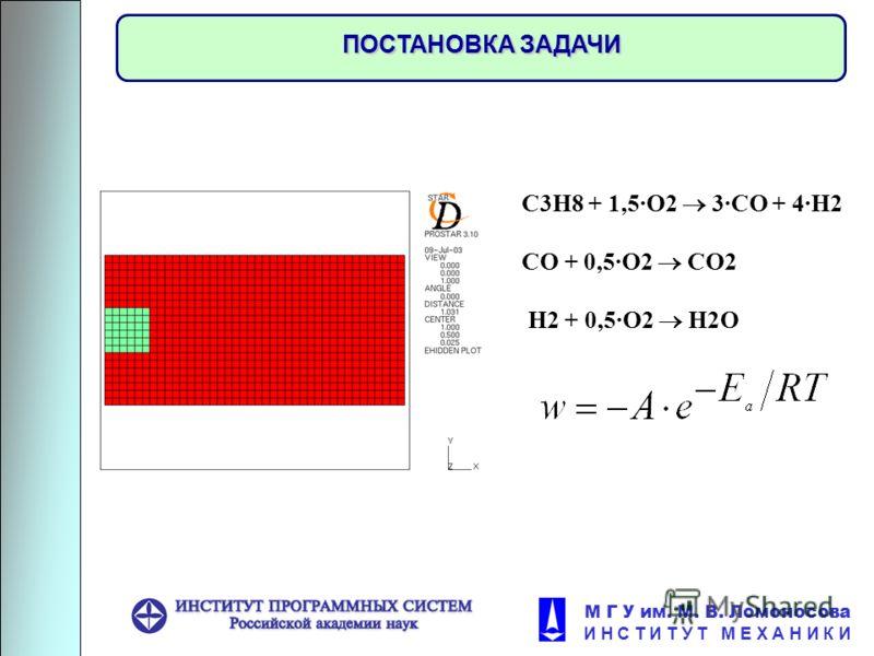 М Г У им. М. В. Ломоносова И Н С Т И Т У Т М Е Х А Н И К И ПОСТАНОВКА ЗАДАЧИ С3H8 + 1,5·O2 3·CO + 4·H2 CO + 0,5·O2 CO2 H2 + 0,5·O2 H2O
