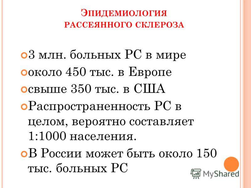 Э ПИДЕМИОЛОГИЯ РАССЕЯННОГО СКЛЕРОЗА 3 млн. больных РС в мире около 450 тыс. в Европе свыше 350 тыс. в США Распространенность РС в целом, вероятно составляет 1:1000 населения. В России может быть около 150 тыс. больных РС