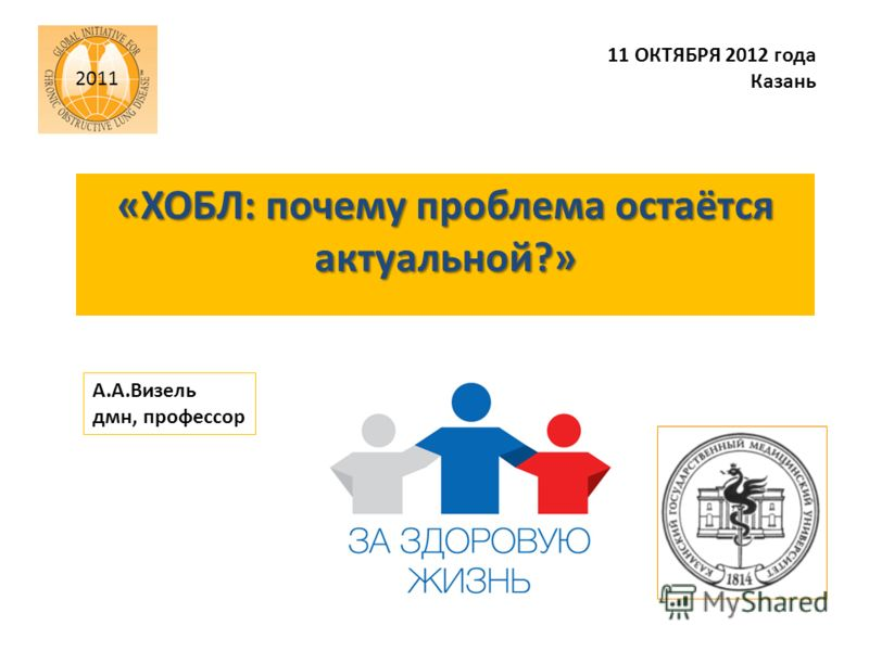 «ХОБЛ: почему проблема остаётся актуальной?» 11 ОКТЯБРЯ 2012 года Казань А.А.Визель дмн, профессор 2011