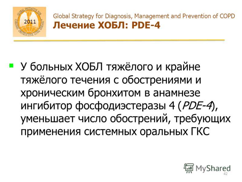 2011 Global Strategy for Diagnosis, Management and Prevention of COPD Лечение ХОБЛ: PDE-4 У больных ХОБЛ тяжёлого и крайне тяжёлого течения с обострениями и хроническим бронхитом в анамнезе ингибитор фосфодиэстеразы 4 (PDE-4), уменьшает число обостре