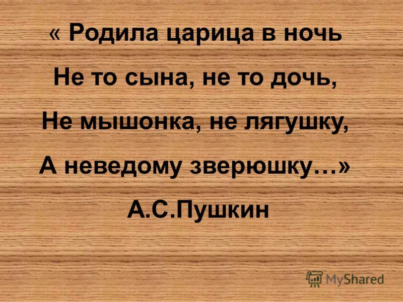 « Родила царица в ночь Не то сына, не то дочь, Не мышонка, не лягушку, А неведому зверюшку…» А.С.Пушкин