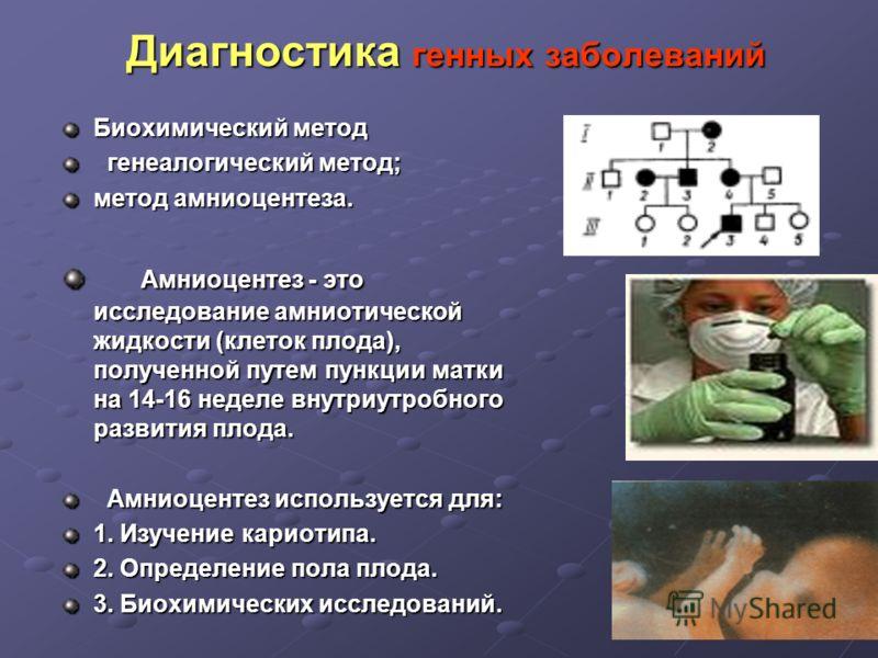 Диагностика генных заболеваний Биохимический метод генеалогический метод; генеалогический метод; метод амниоцентеза. Амниоцентез - это исследование амниотической жидкости (клеток плода), полученной путем пункции матки на 14-16 неделе внутриутробного