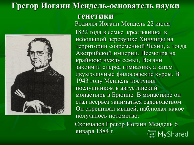 Грегор Иоганн Мендель-основатель науки генетики Родился Иоганн Мендель 22 июля 1822 года в семье крестьянина в небольшой деревушке Хинчицы на территории современной Чехии, а тогда Австрийской империи. Несмотря на крайнюю нужду семьи, Иоганн закончил