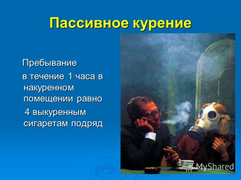 Пассивное курение Пребывание Пребывание в течение 1 часа в накуренном помещении равно в течение 1 часа в накуренном помещении равно 4 выкуренным сигаретам подряд 4 выкуренным сигаретам подряд