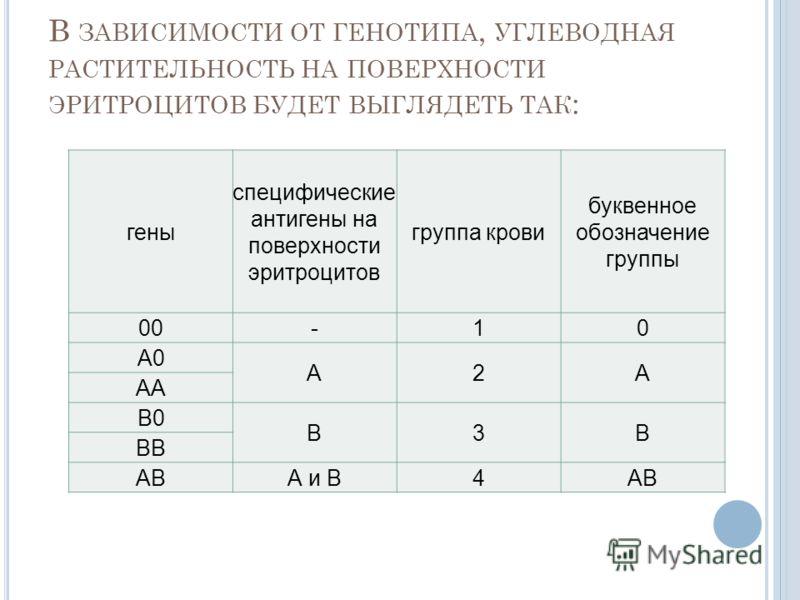В ЗАВИСИМОСТИ ОТ ГЕНОТИПА, УГЛЕВОДНАЯ РАСТИТЕЛЬНОСТЬ НА ПОВЕРХНОСТИ ЭРИТРОЦИТОВ БУДЕТ ВЫГЛЯДЕТЬ ТАК : гены специфические антигены на поверхности эритроцитов группа крови буквенное обозначение группы 00-10 А0 А2А АА В0 В3В ВВ АВА и В4АВ