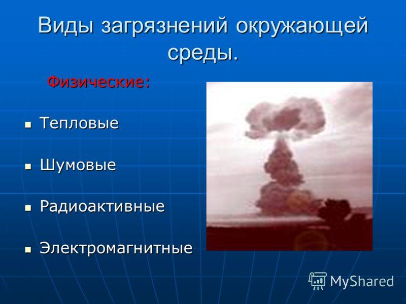 Виды загрязнений окружающей среды. Физические: Физические: Тепловые Тепловые Шумовые Шумовые Радиоактивные Радиоактивные Электромагнитные Электромагнитные