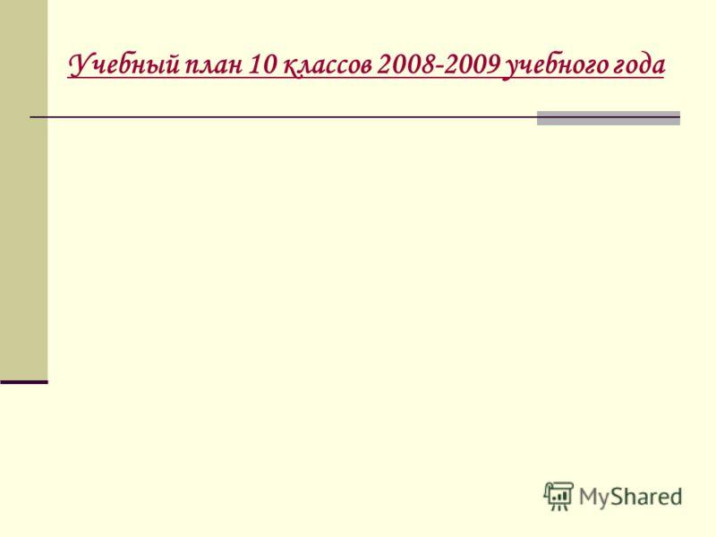 Учебный план 10 классов 2008-2009 учебного года