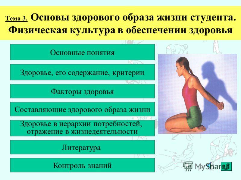 Основные понятия Тема 3. Основы здорового образа жизни студента. Физическая культура в обеспечении здоровья Здоровье, его содержание, критерии Факторы здоровья Составляющие здорового образа жизни Здоровье в иерархии потребностей, отражение в жизнедея