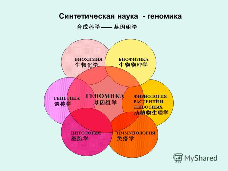 ГЕНОМИКА БИОФИЗИКА БИОХИМИЯ ГЕНЕТИКА ФИЗИОЛОГИЯ РАСТЕНИЙ И ЖИВОТНЫХ ЦИТОЛОГИЯ ИММУНОЛОГИЯ Синтетическая наука - геномика
