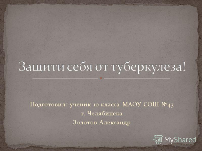 Подготовил: ученик 10 класса МАОУ СОШ 43 г. Челябинска Золотов Александр