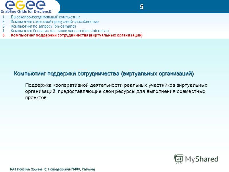 Компьютинг поддержки сотрудничества (виртуальных организаций) Поддержка кооперативной деятельности реальных участников виртуальных организаций, предоставляющие свои ресурсы для выполнения совместных проектов 5 NA3 Induction Courses, Е. Новодворский (