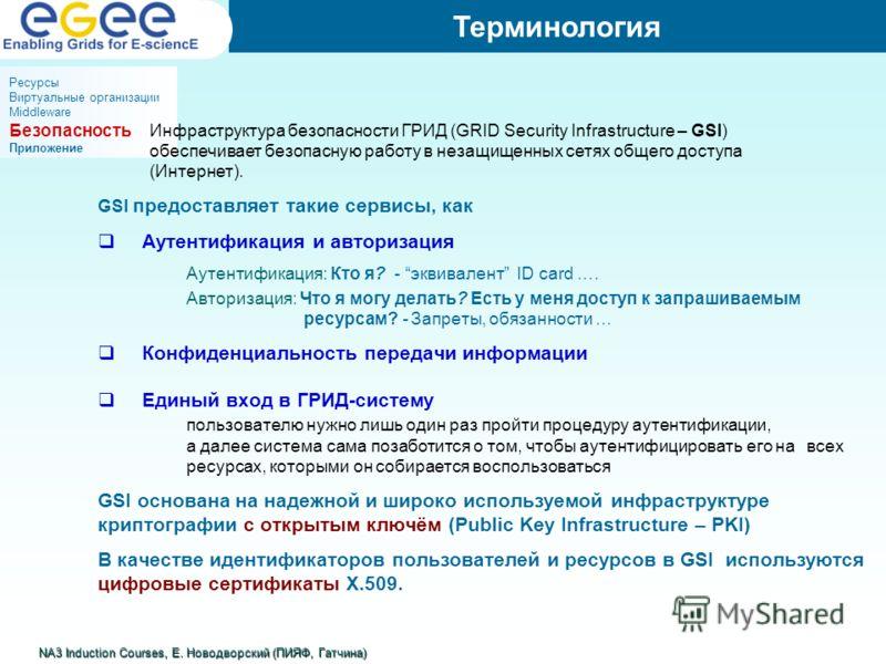 GSI предоставляет такие сервисы, как Аутентификация и авторизация Аутентификация: Кто я? - эквивалент ID card …. Авторизация: Что я могу делать? Есть у меня доступ к запрашиваемым ресурсам? - Запреты, обязанности … Конфиденциальность передачи информа