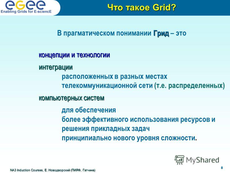 Что такое Grid? NA3 Induction Courses, Е. Новодворский (ПИЯФ, Гатчина) 8 Грид В прагматическом понимании Грид – это концепции и технологии интеграции расположенных в разных местах телекоммуникационной сети (т.е. распределенных) компьютерных систем дл