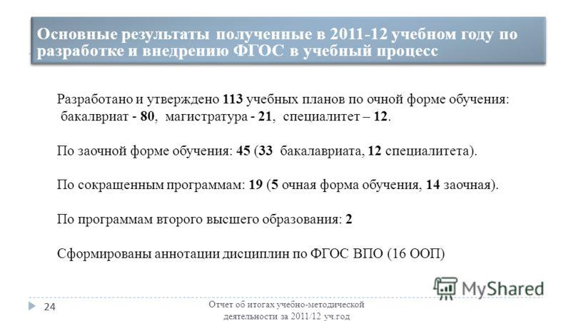Отчет об итогах учебно-методической деятельности за 2011/12 уч.год 24 Основные результаты полученные в 2011-12 учебном году по разработке и внедрению ФГОС в учебный процесс Разработано и утверждено 113 учебных планов по очной форме обучения: бакалври