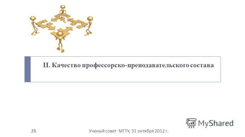 Ученый совет МГТУ, 31 октября 2012 г. 25 II. Качество профессорско-преподавательского состава 25