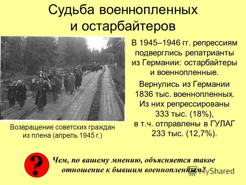 Судьба военнопленных и остарбайтеров В 1945–1946 гг. репрессиям подверглись репатрианты из Германии: остарбайтеры и военнопленные. Вернулись из Германии 1836 тыс. военнопленных. Из них репрессированы 333 тыс. (18%), в т.ч. отправлены в ГУЛАГ 233 тыс.