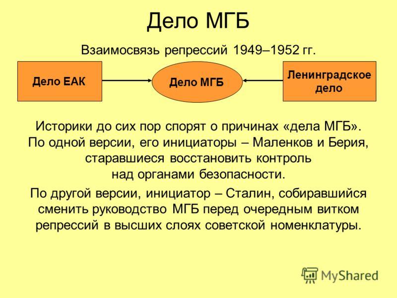 Дело МГБ Взаимосвязь репрессий 1949–1952 гг. Историки до сих пор спорят о причинах «дела МГБ». По одной версии, его инициаторы – Маленков и Берия, старавшиеся восстановить контроль над органами безопасности. По другой версии, инициатор – Сталин, соби
