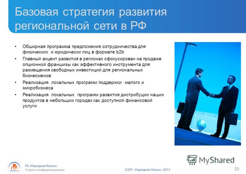 Базовая стратегия развития региональной сети в РФ Обширная программа предложения сотрудничества для физических и юридически лиц в формате b2b Главный акцент развития в регионах сфокусирован на продаже опционной франшизы как эффективного инструмента д