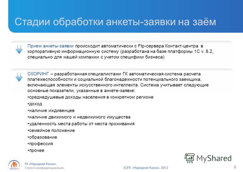 Прием анкеты-заявки происходит автоматически с Ftp-сервера Контакт-центра в корпоративную информационную систему (разработана на базе платформы 1C v. 8.2, специально для нашей компании с учетом специфики бизнеса) Стадии обработки анкеты-заявки на заё