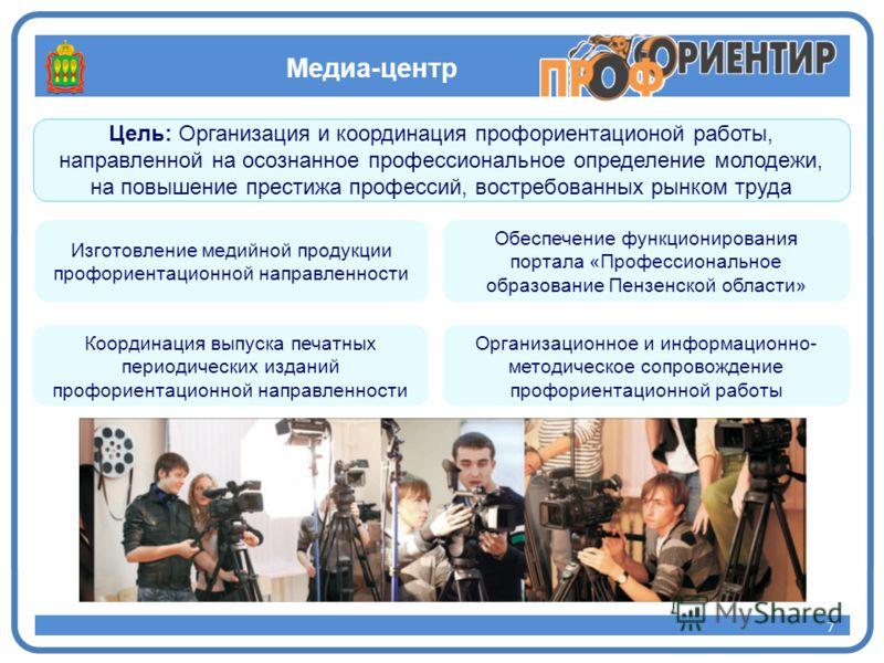 Медиа-центр 7 Цель: Организация и координация профориентационой работы, направленной на осознанное профессиональное определение молодежи, на повышение престижа профессий, востребованных рынком труда 7 Изготовление медийной продукции профориентационно