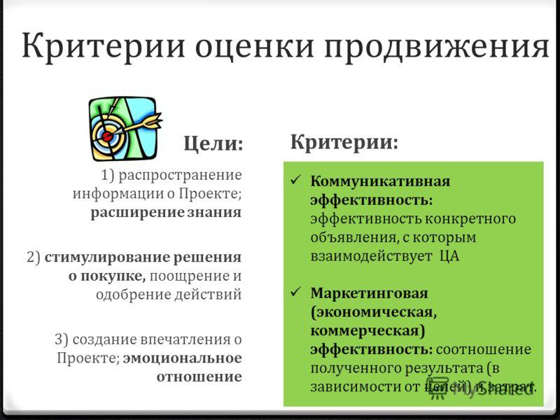 Критерии оценки продвижения 1) распространение информации о Проекте; расширение знания 2) стимулирование решения о покупке, поощрение и одобрение действий 3) создание впечатления о Проекте; эмоциональное отношение Критерии: Цели: Коммуникативная эффе