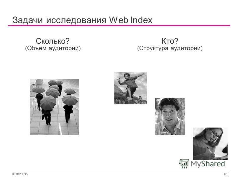 ©2005 TNS 98 Задачи исследования Web Index Сколько? (Объем аудитории) Кто? (Структура аудитории)
