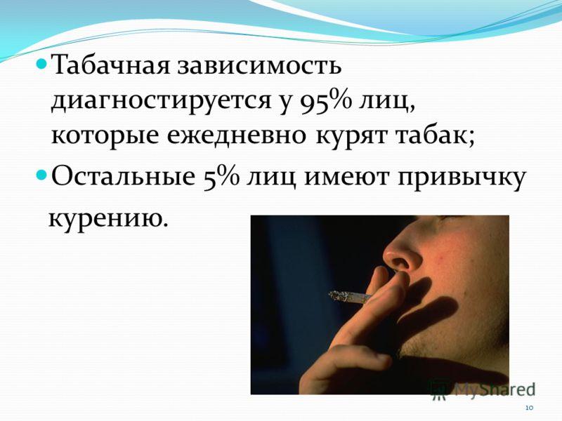Табачная зависимость диагностируется у 95% лиц, которые ежедневно курят табак; Остальные 5% лиц имеют привычку курению. 10